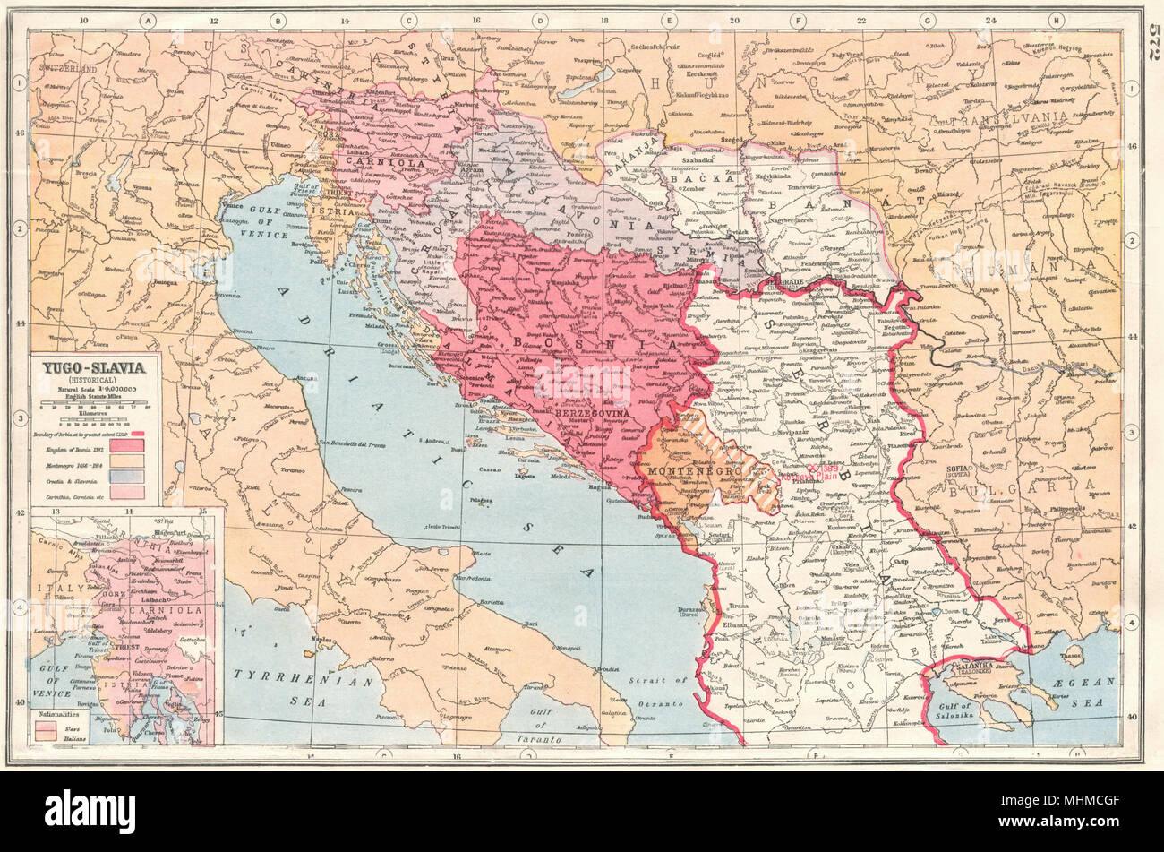 Ex Jugoslawien Karte.Balkan Jugoslawien Historische Bosnien Serbien Montenegro