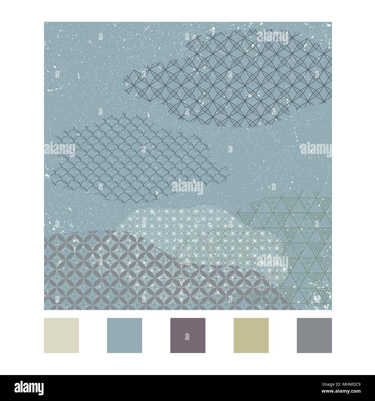 Japanische Muster Vektor Mit Geometrischen Hintergrund In Der Cloud