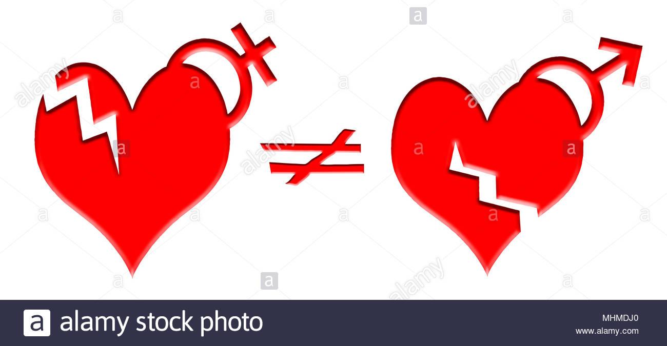 Digital composite Herz mit männlichen und weiblichen Symbole - viele kranzartige Probleme und andere Krankheiten sind häufiger in ein Geschlecht als das andere. Desp Stockbild