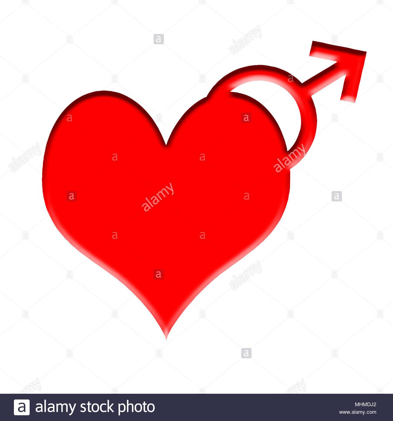 Digital composite Herz mit einem männlichen Symbol - viele kranzartige Probleme und andere Krankheiten sind häufiger in ein Geschlecht als das andere. Trotz dieser m Stockbild