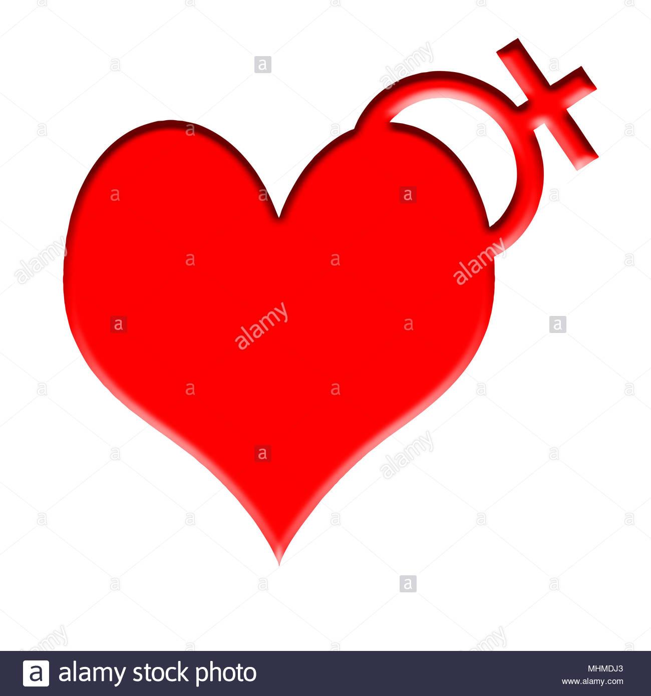 Digital composite Herz mit einem weiblichen Symbol - viele kranzartige Probleme und andere Krankheiten sind häufiger in ein Geschlecht als das andere. Trotz dieser Stockbild