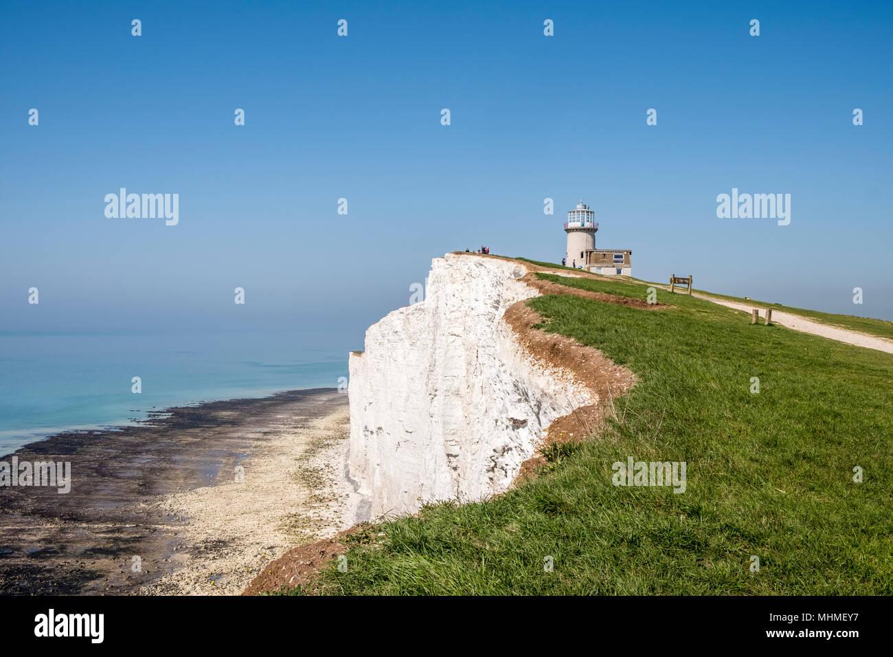 Belle Tout Lighthouse, auch bekannt als Belle Toute, ist die stillgelegte Leuchtturm am Beachy Head, East Sussex, Südengland, GB, UK Stockbild