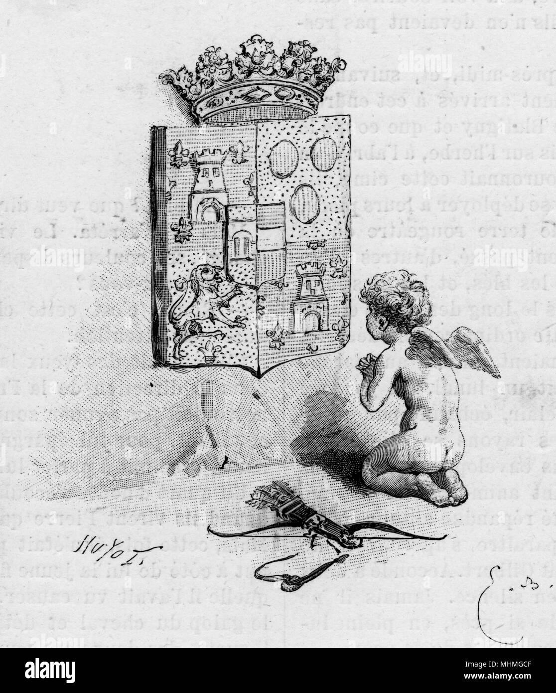 Eine Satire auf die Art und Weise, wie 'Liebe verehrt Geschlecht' - die überhöhten Respekt für Abstammung und aristokratischen Status - Zeigt Amor kniend zu einem heraldischen Gerät mit einer Krone auf. Datum: 1890 Stockbild