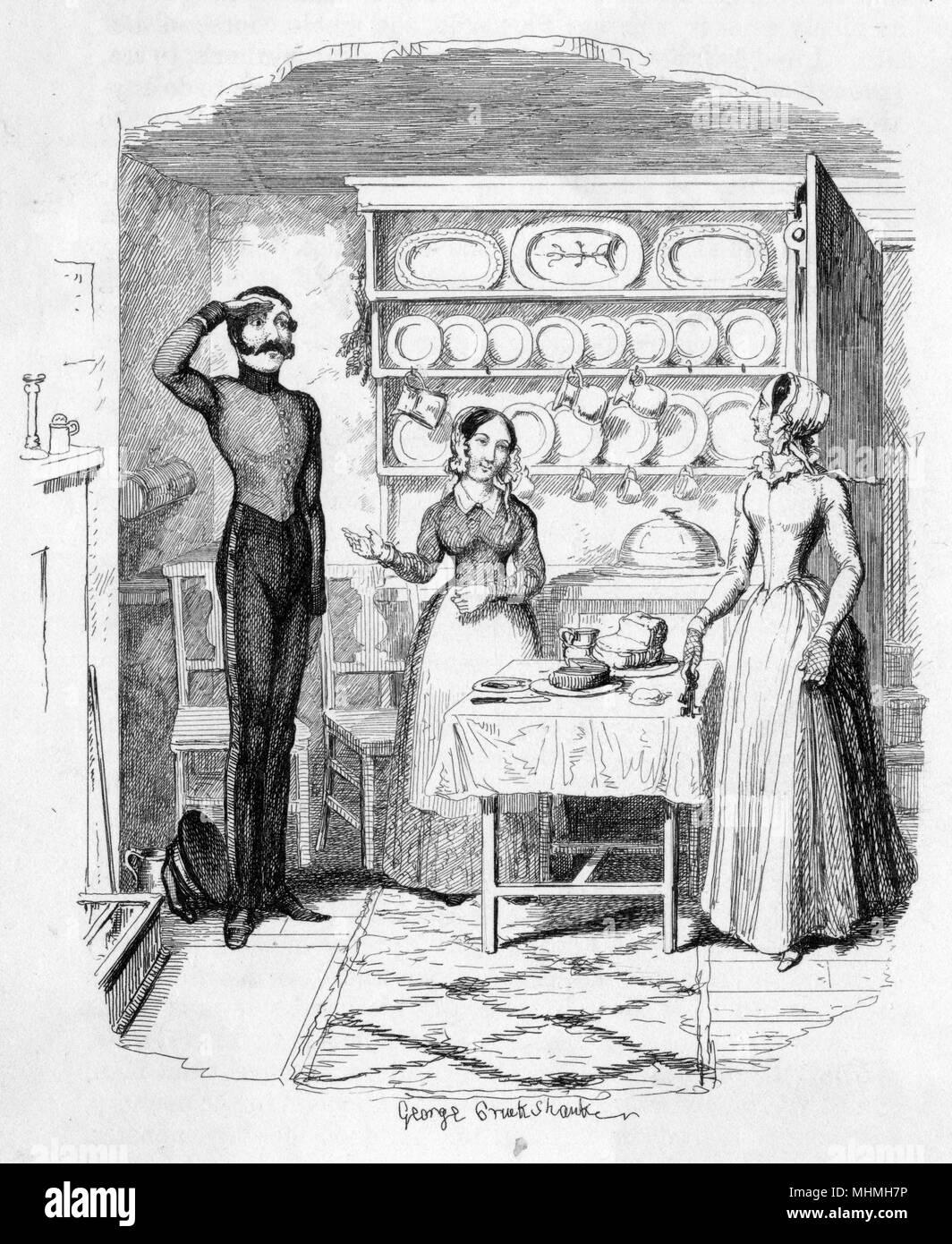 """""""Es ist mein Cousin, Ma'am!"""" Der Koch erklärt die Anwesenheit von einem gutaussehenden jungen Soldaten in der Küche Datum: 1849 Stockbild"""