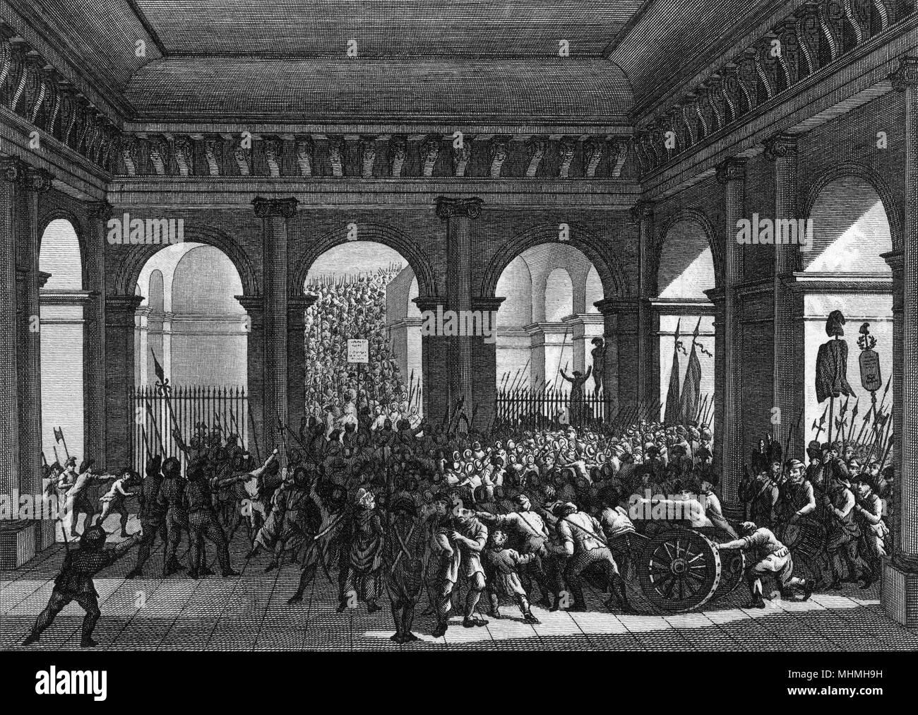 Eine Masse von 6000 verärgerten Bürgern in den Tuileries Palace, der König und zu verlangen, dass er sein Veto gegen die vorgeschlagenen Reformen Datum: 20. Juni 1792 widerrufen konfrontieren Stockbild