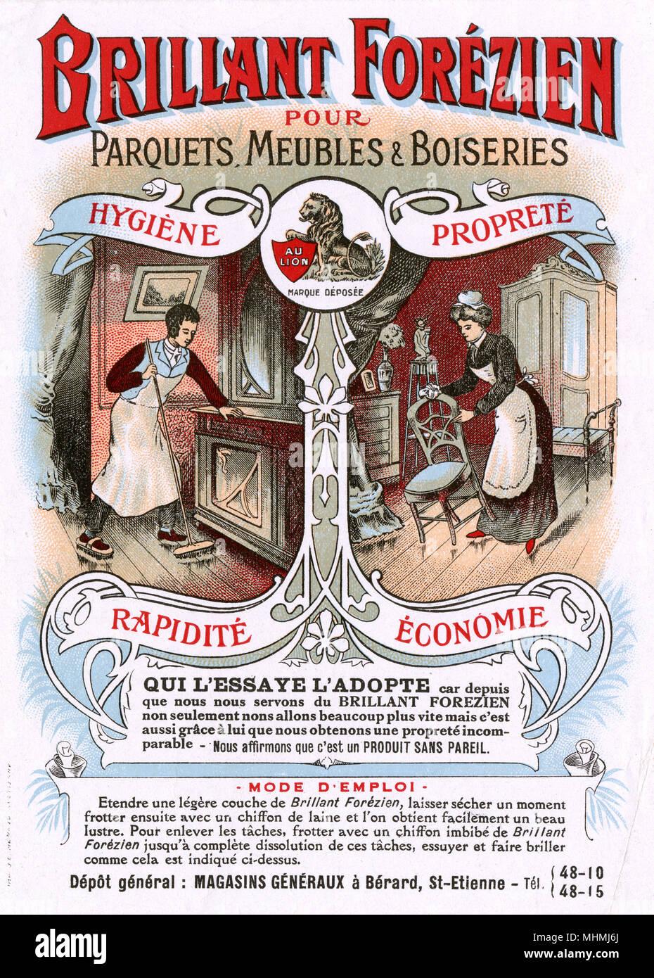 Zwei Diener zu finden, dass ihre Arbeit von Polieren Möbel sauberer, schneller und sparsamer Dank BRILLANT FOREZIEN Datum: ca. 1900 hergestellt ist Stockbild