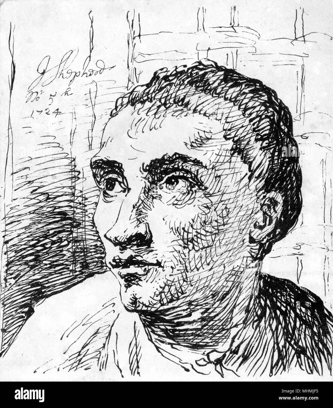 Jack Sheppard (1702-1724); Englisch Dieb; engagierte fast täglich Raubüberfälle in oder in der Nähe von London. Durch Jonathan Wild gefangen. Gewagte entweicht aus Newgate Gefängnis; gehängt. Datum: 1724 Stockbild