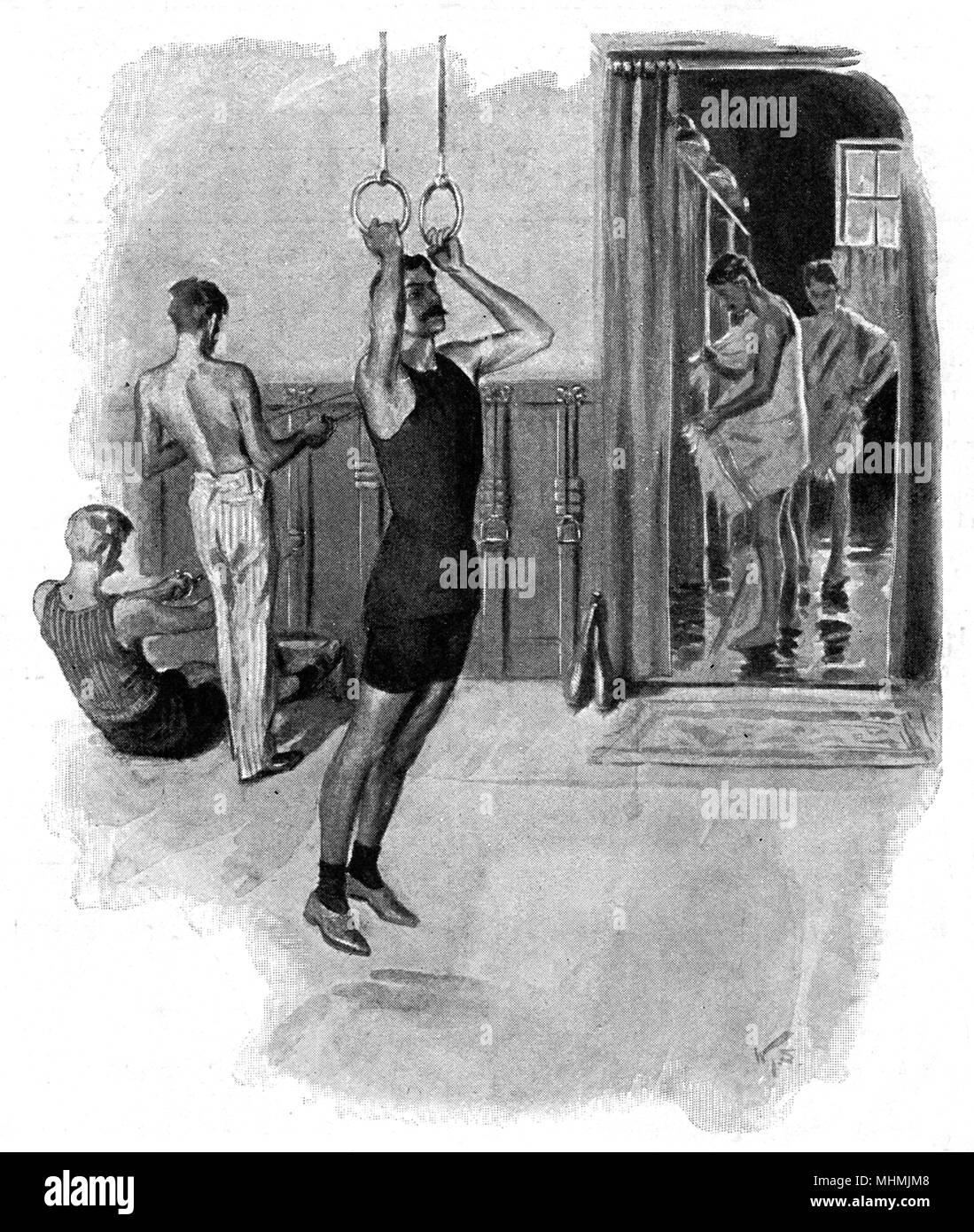 Ein gentleman Übungen an den Ringen, andere Körper - im Hintergrund Datum build: 1901 Stockbild