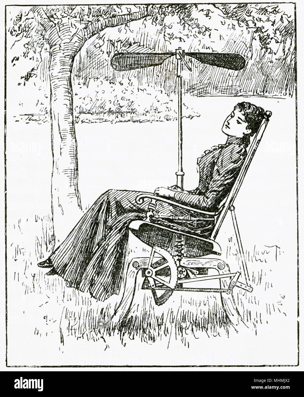 Frau relaxen in der Sonne mit einem mechanischen Schaukelstühlen, ein Ventilator angeschlossen. Datum: 1893 Stockbild