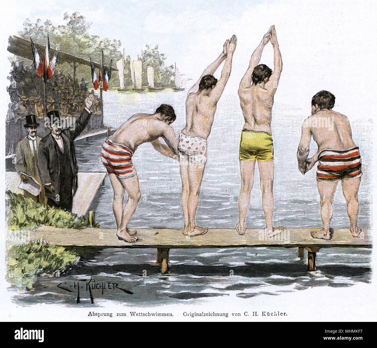 Vier Schwimmer vorbereiten zum Tauchgang an der Start in einem Rennen. Datum: ca. 1895 Stockbild
