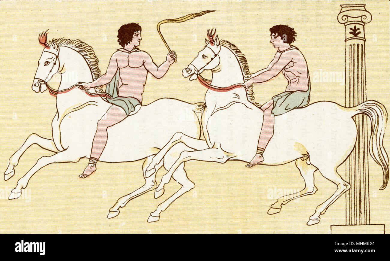 Zwei Fahrer konkurrieren in einem griechischen Pferderennen. Datum: Alte Stockbild