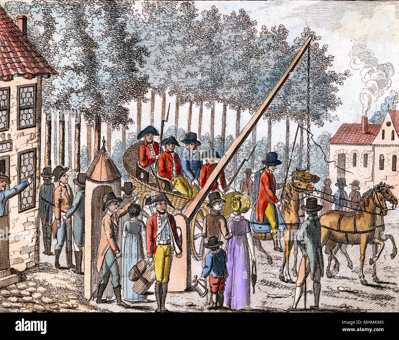 Charles Preis, ein notorischer Betrüger ist gefangen; bald, nachdem er beging Selbstmord Datum: 1786 Stockbild
