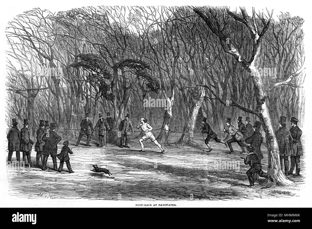 Fuß-Rennen in Bayswater - vermutlich im Hyde Park. Datum: 1851 Stockbild