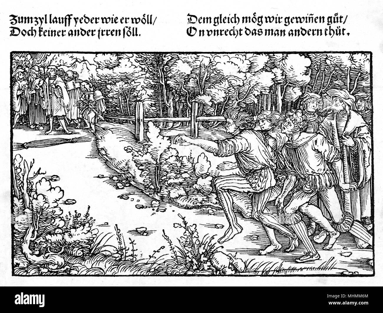 Ein Wettlauf im 16. Jahrhundert in Deutschland. Datum: ca. 1520 Stockbild