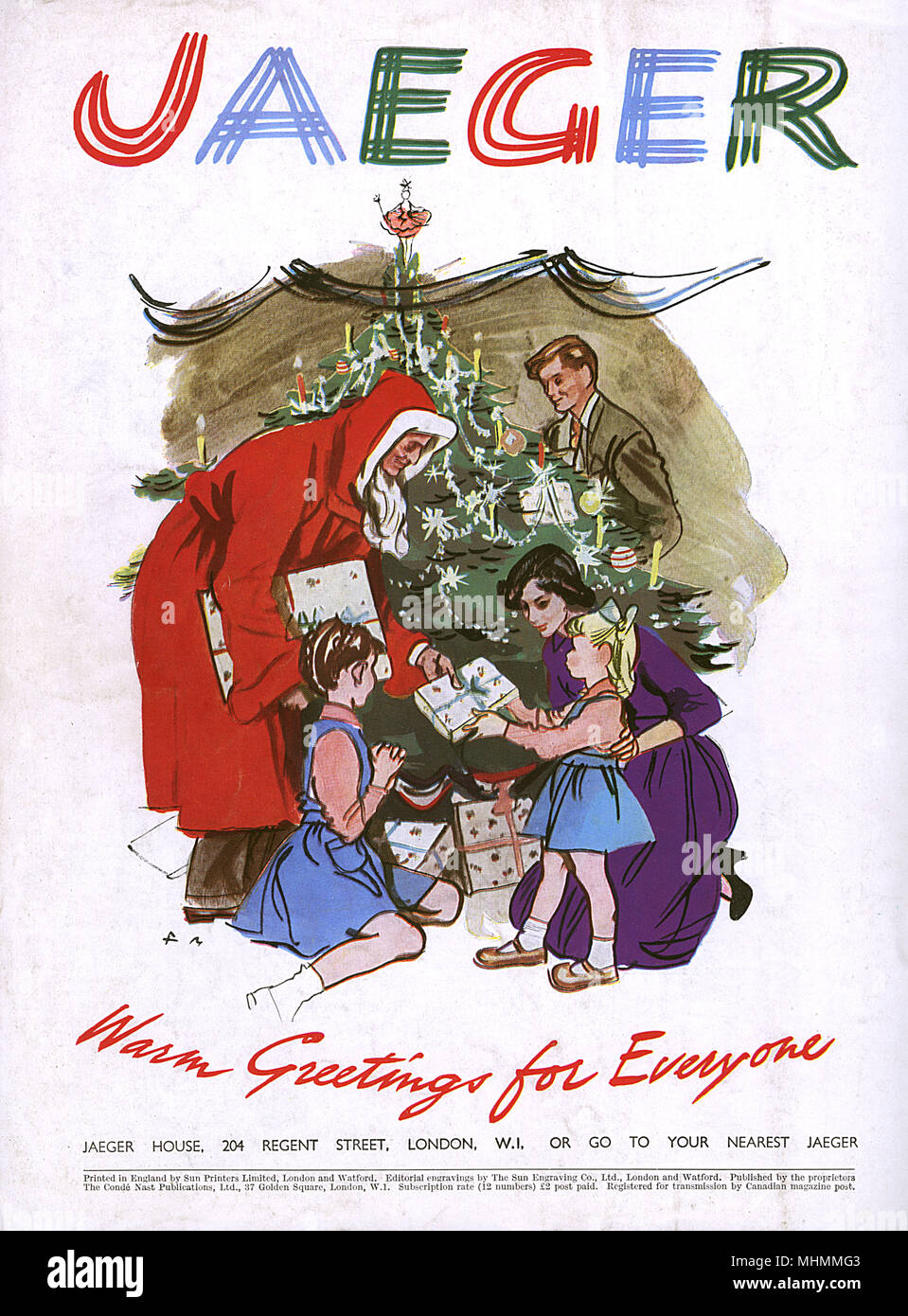 Werbung für Jaeger, die alle um den Weihnachtsbaum. Datum: 1948 ...