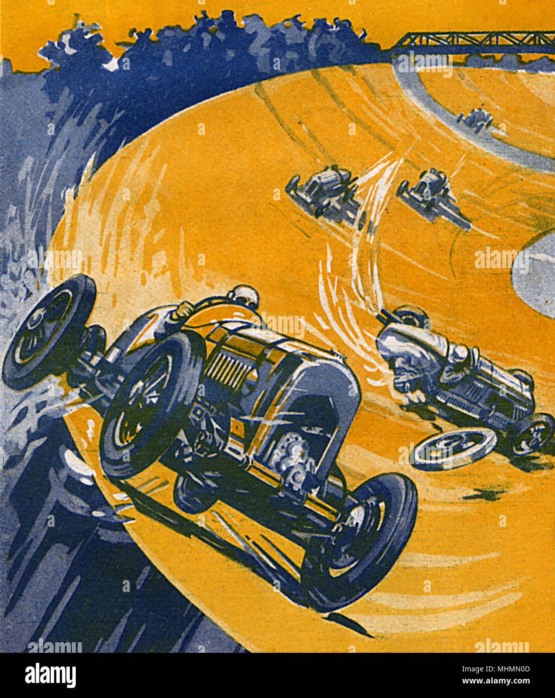 Rennwagen in Brooklands whizzing um den Titel. Datum: 1932 Stockbild