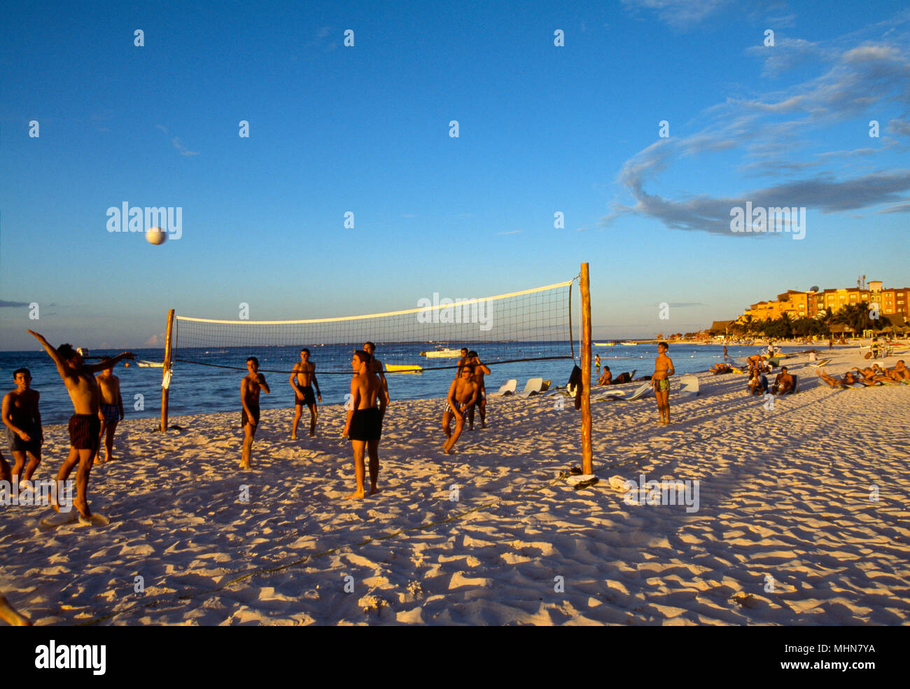 Cancun, Mexiko; Männer Beachvolleyball Stockbild