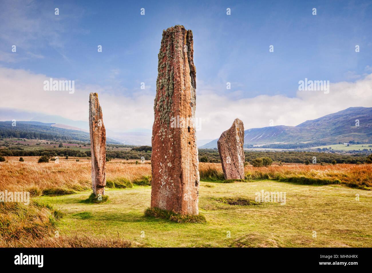 Machrie Moor 2 Stone Circle, einem 4000 Jahre alten Megalith-monument auf der Insel Arran, North Ayrshire, Schottland. Stockfoto