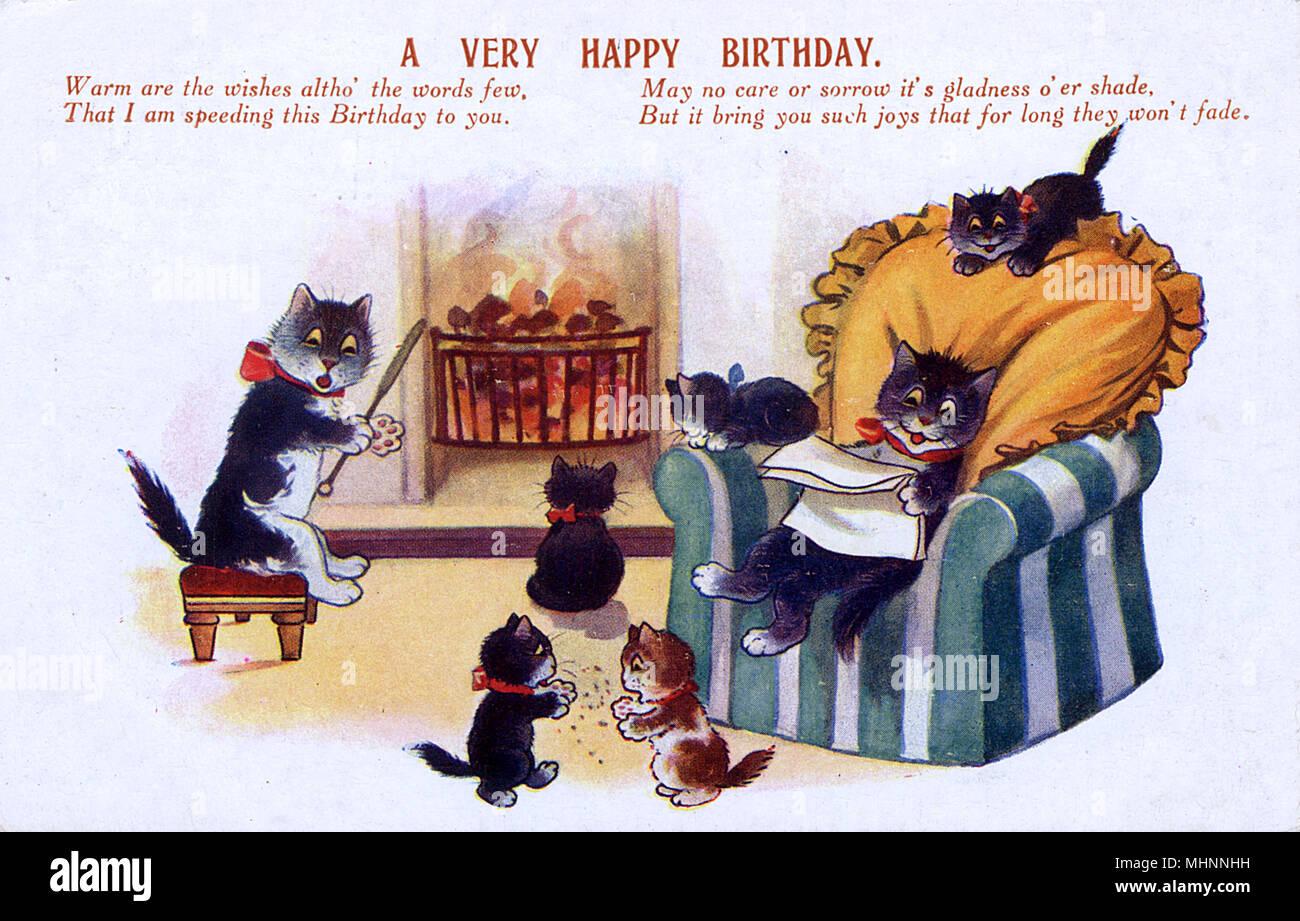 Geburtstag Grüße Postkarte - eine Familie von Katzen zu Hause sitzen ...