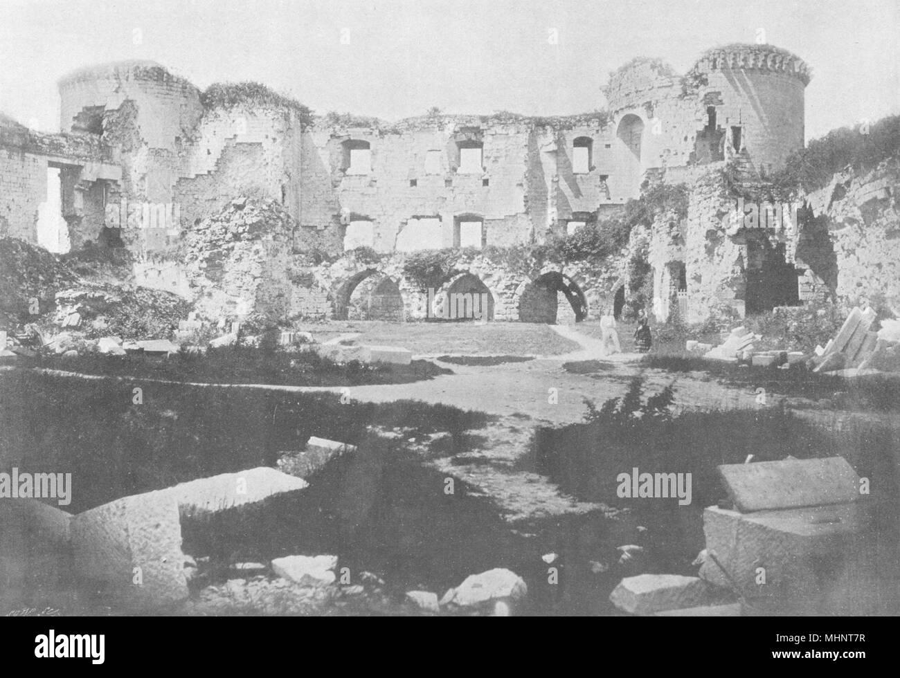AISNE. Coucy. Intérieur des Ruinen 1895 alte antike vintage Bild drucken Stockbild