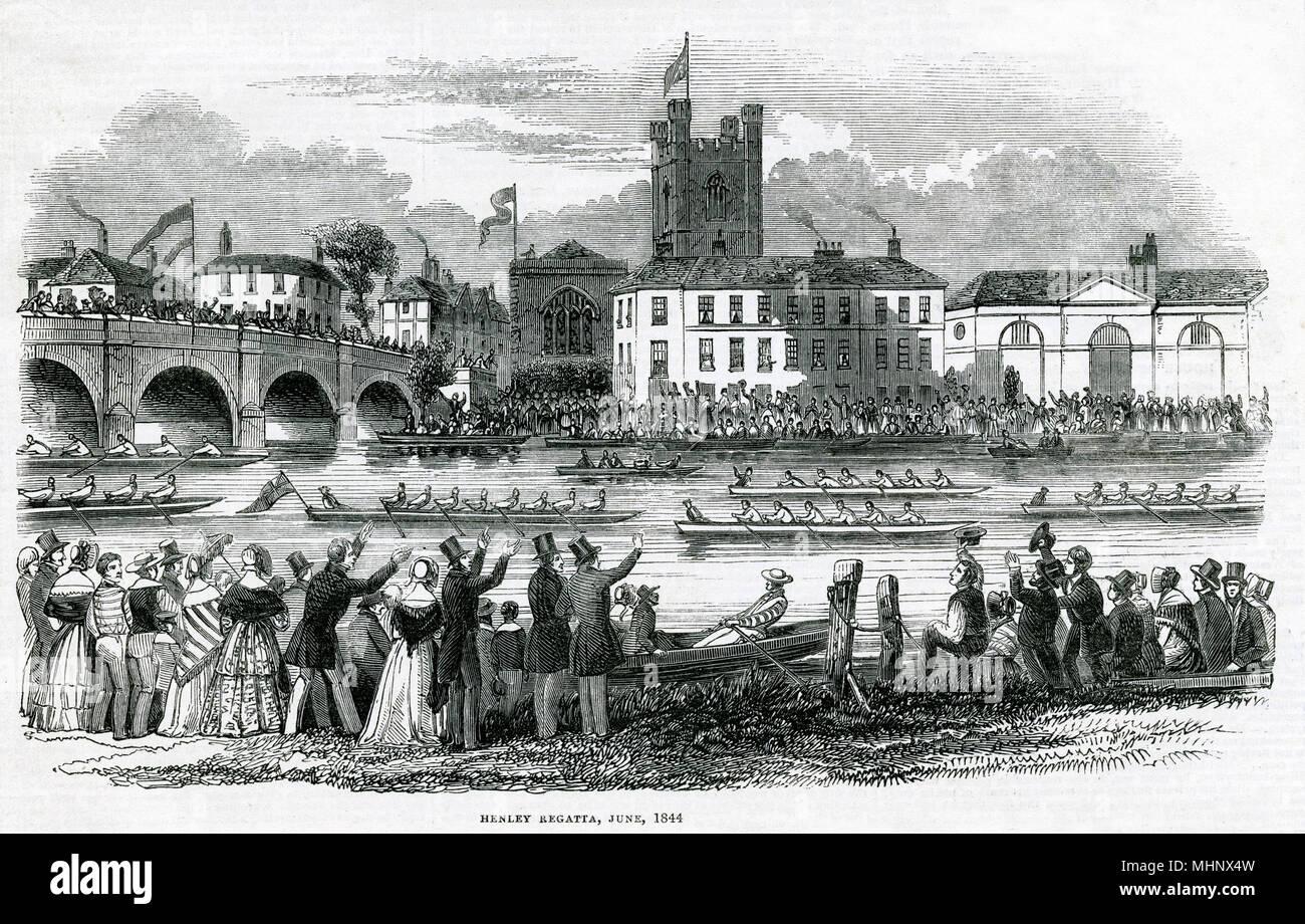 Jährliche Veranstaltung auf der Themse, die Massen von Menschen beobachten, die ruderer vorbei, im Jahr 1839 gegründet, Datum: Juni 1844 Stockbild