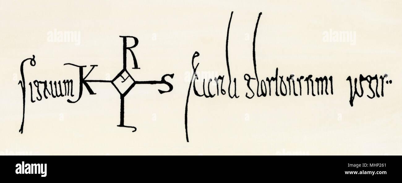 Karls des Großen Signatur, 790 AD, von einem Schreiber geschrieben, mit Ausnahme der zwei Anschläge in den zentralen Teil der Monogramm. Holzschnitt mit Aquarell waschen Stockbild