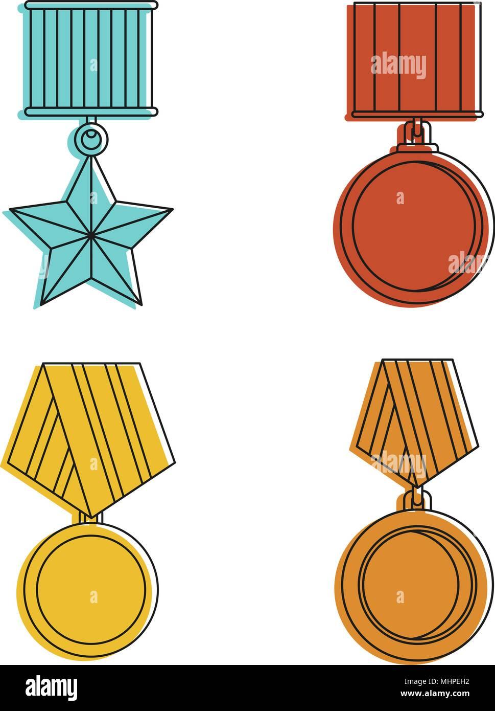 Armee Medaille Icon Set, Farbe Umrisse Stil Stock Vektor