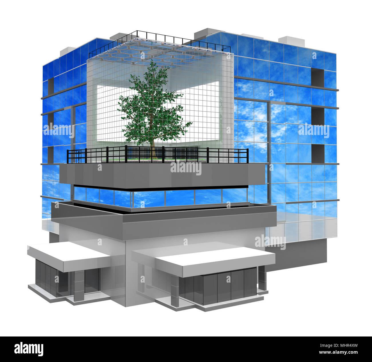 ein modernes geb ude aus glas und stahl 3d mit kleinen. Black Bedroom Furniture Sets. Home Design Ideas
