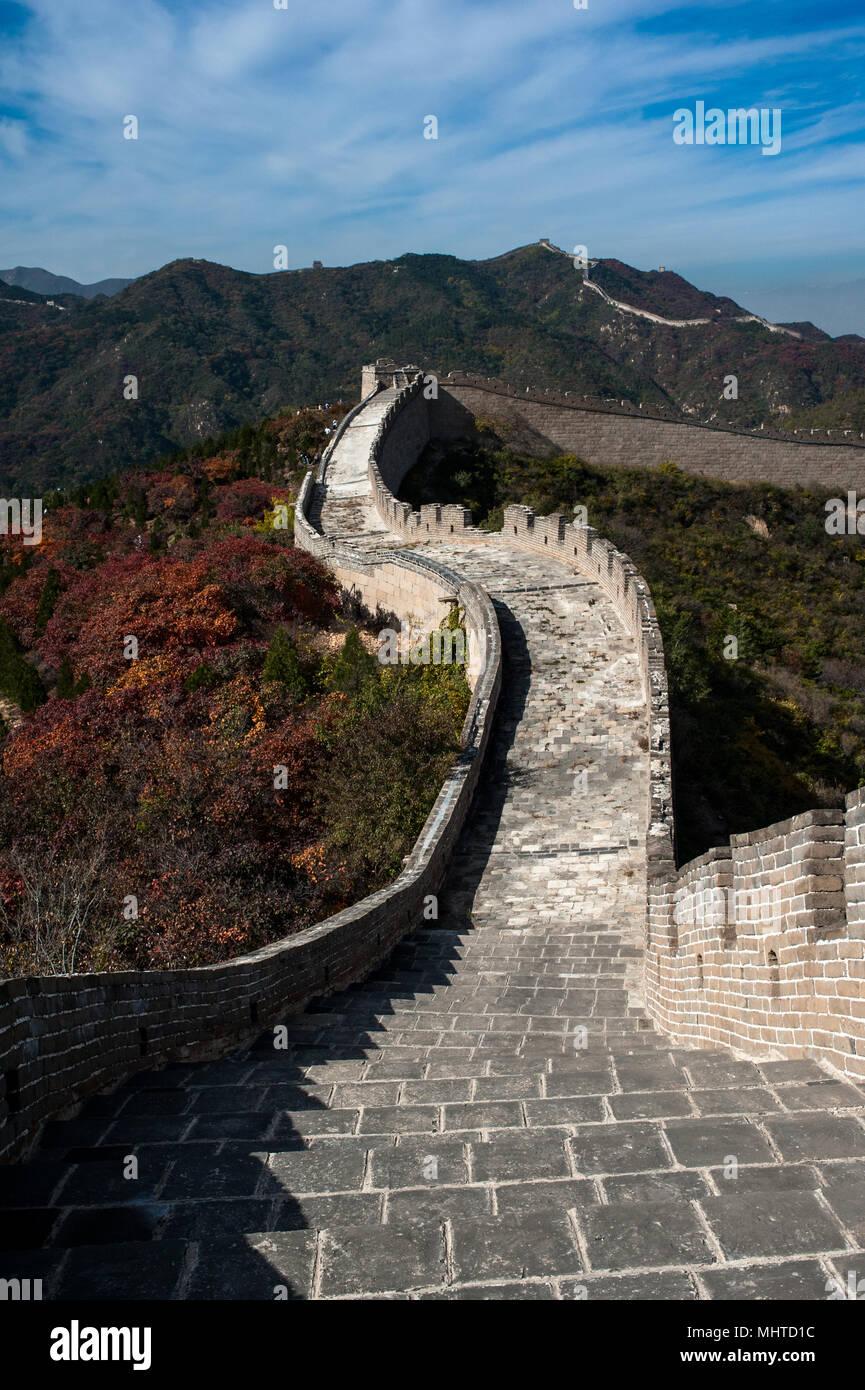 Große Mauer über die Berge Stockbild
