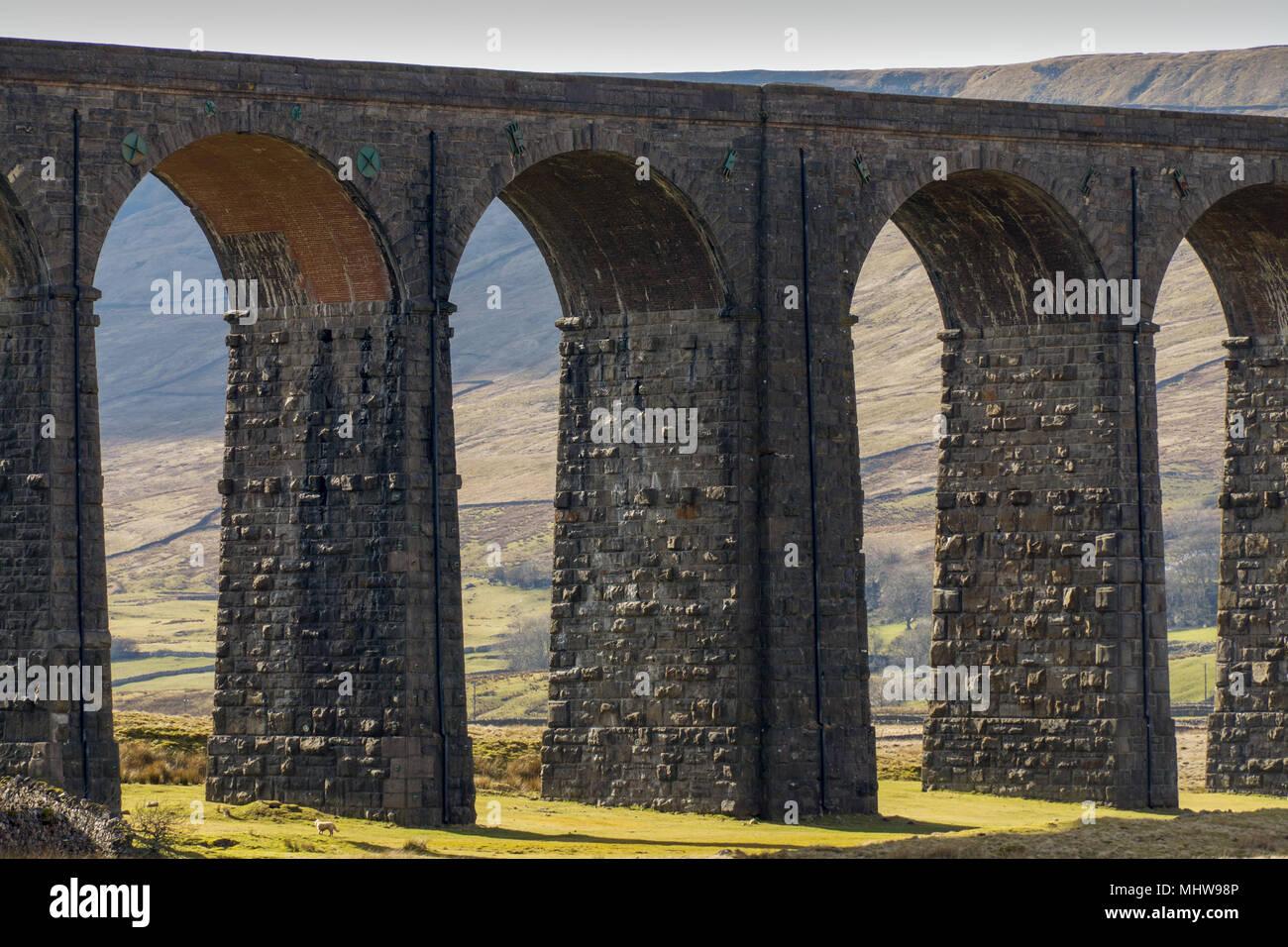 Nahaufnahme der Ribblehead Viadukt Stockbild