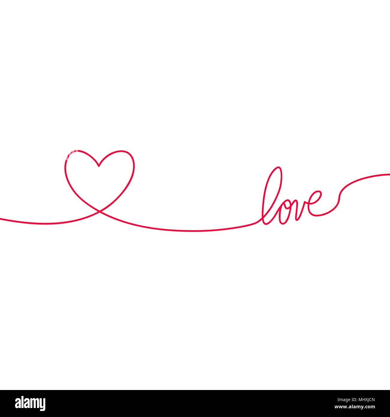 Herz Und Liebe Im Kontinuierlichen Zeichnen Von Linien In Einem