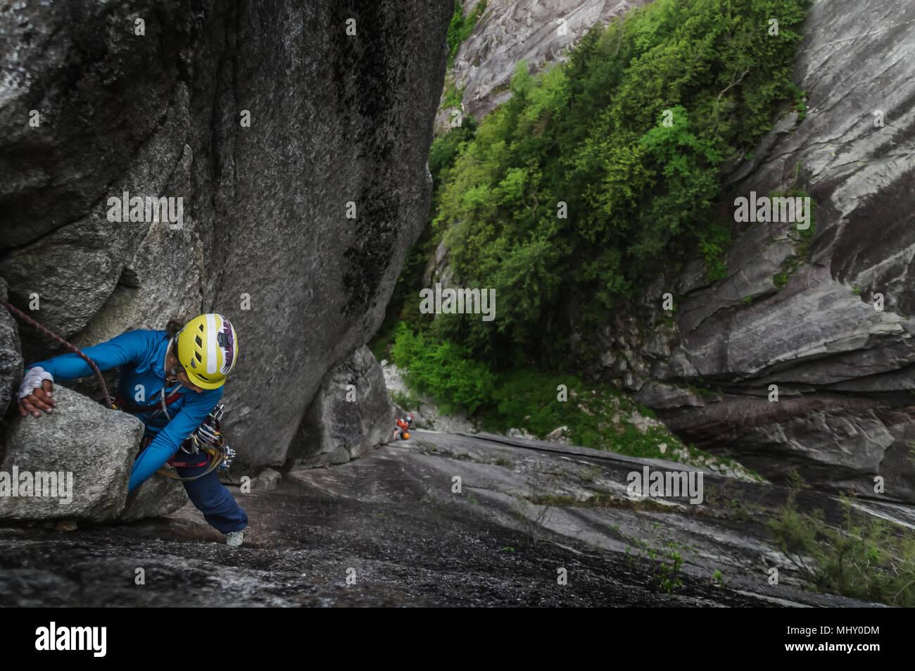 Herkömmliche an der Chief, Squamish, Kanada klettern Stockbild
