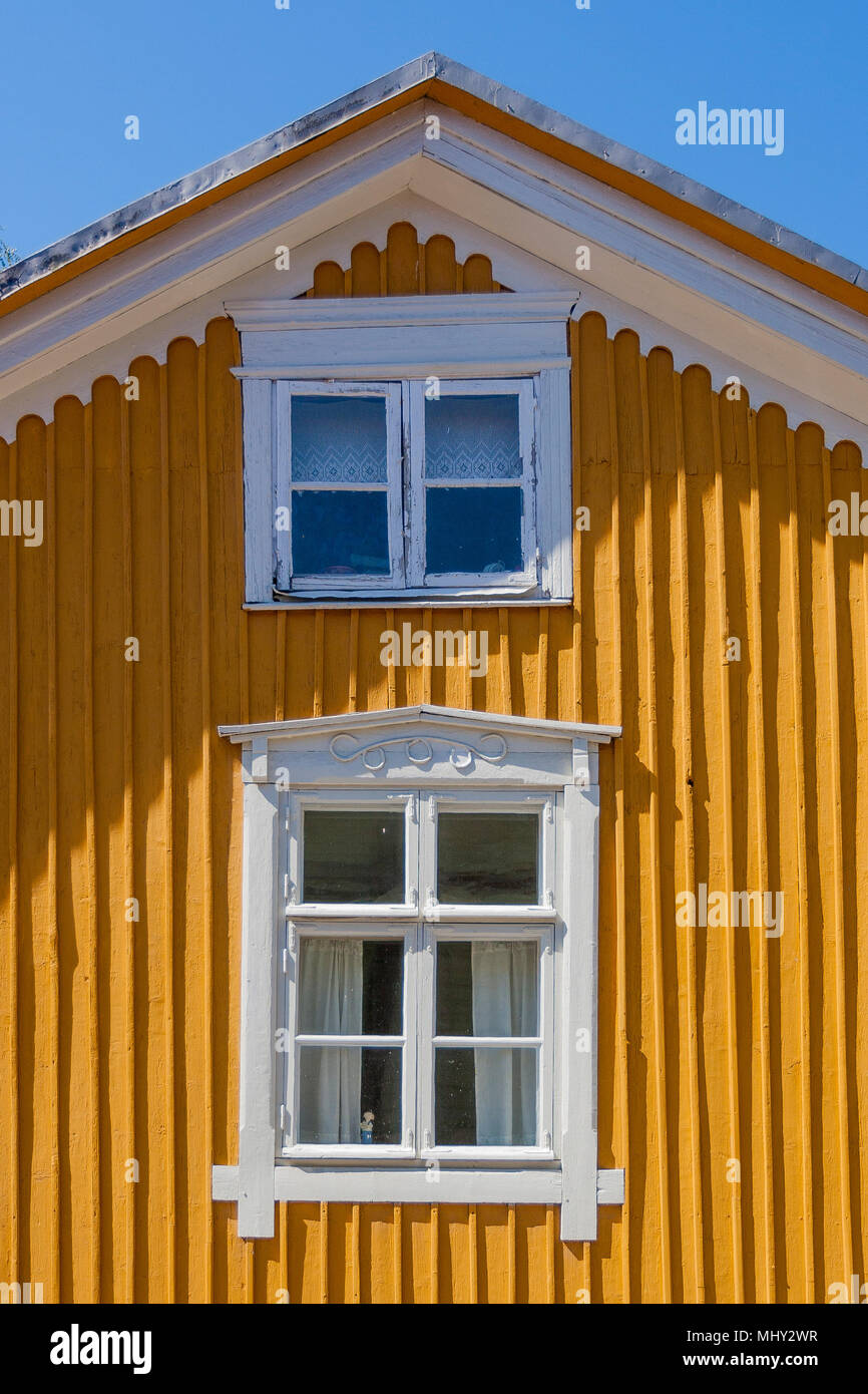 Historische Stadt timberhouses, Stadt Rauma, Finnland Stockbild