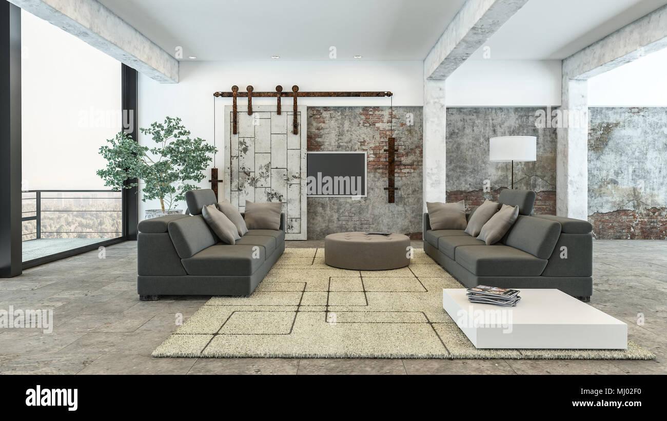 Große luxuriöse luftige moderne, geräumige Wohnzimmer mit ...