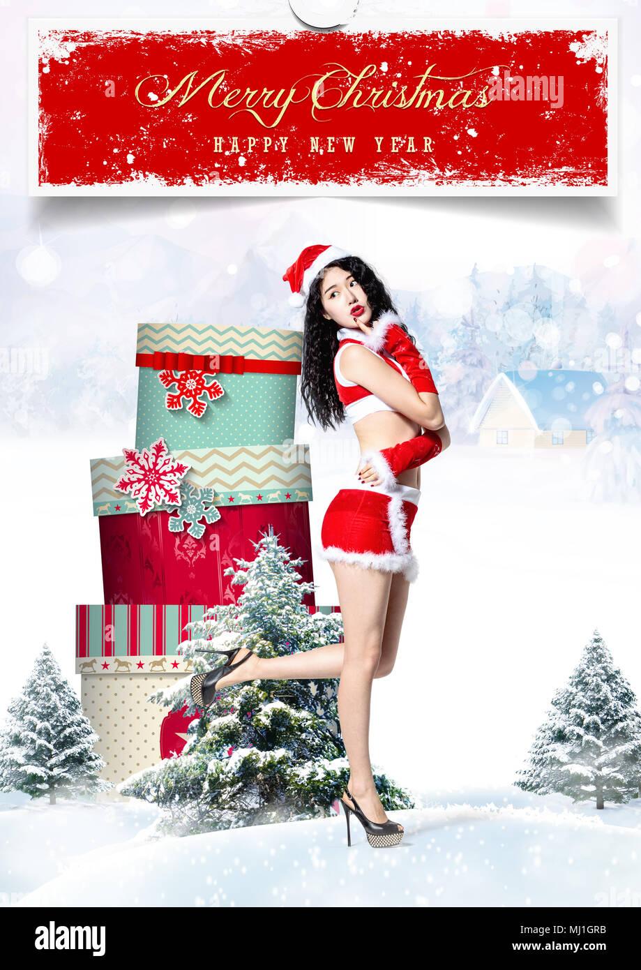 Frauen Geschenke Weihnachten.Junge Frauen Und Weihnachten Geschenke Stockfoto Bild