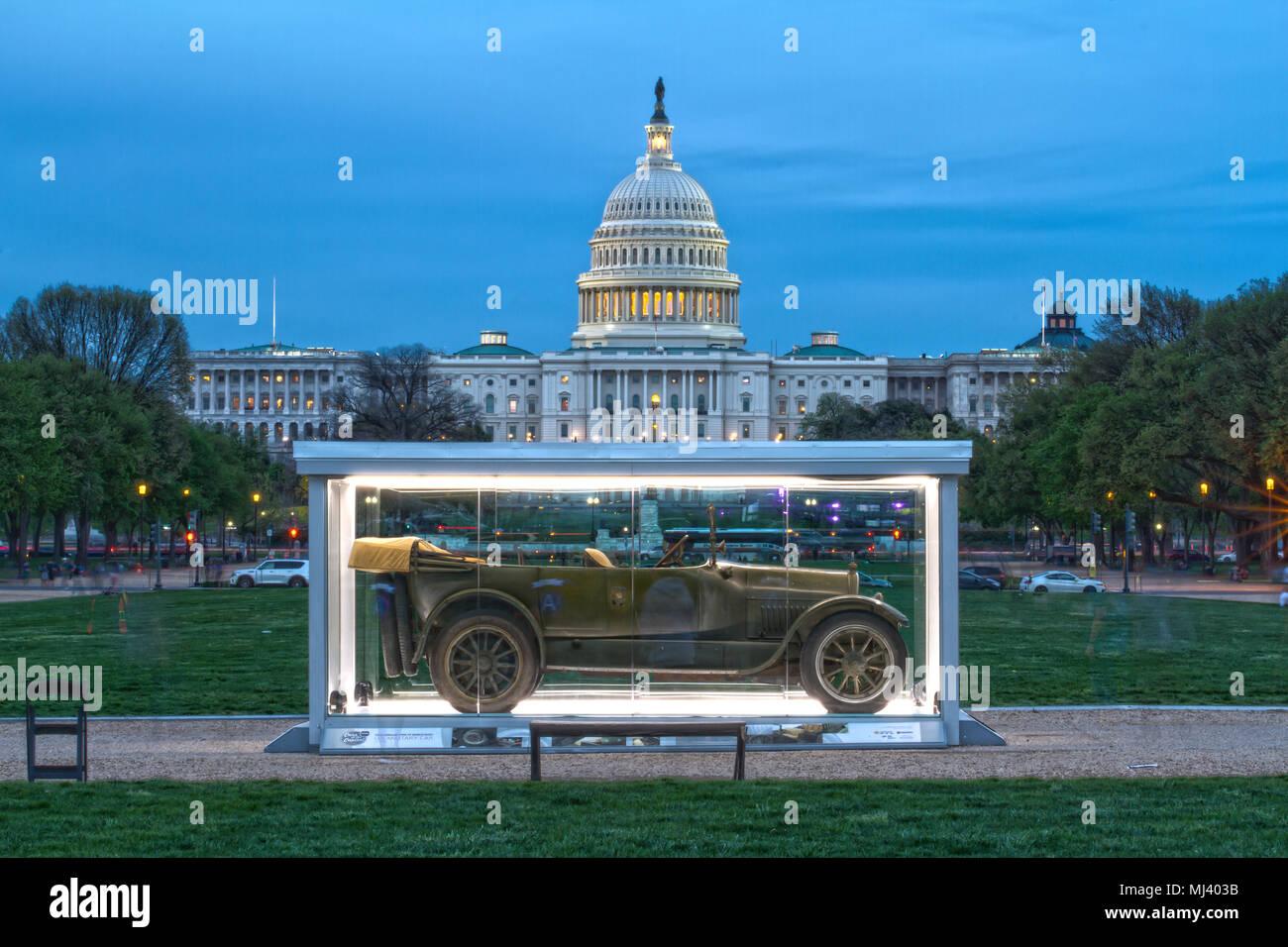 Autos in der Hauptstadt, April 2018 - Krieg ich Cadillac Typ 57 auf Anzeige an der National Mall, in HDR, Washington, DC, USA erfasst. Stockbild