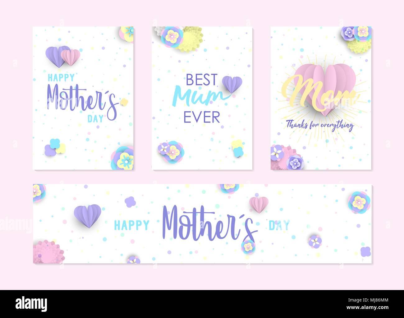 Glückliche Mütter Tag Karte und Bezeichnung der Vorlage mit 3d ...