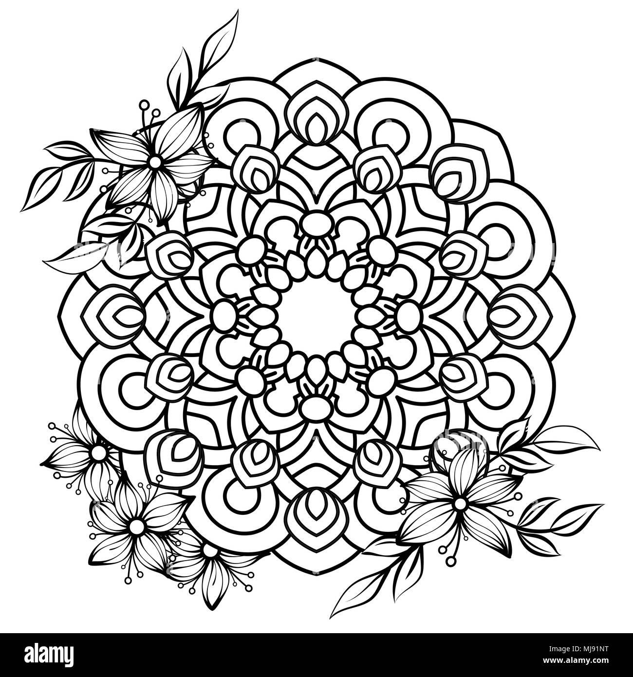 mandala florale muster in schwarz und wei nach malbuch seite mit blumen und mandalas. Black Bedroom Furniture Sets. Home Design Ideas