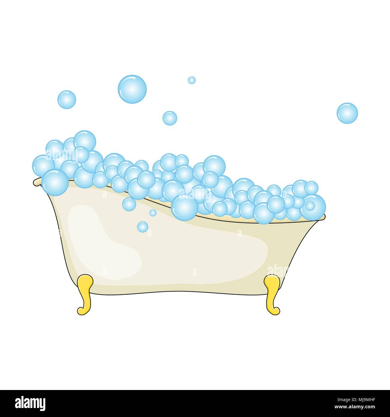 Cartoon Badewanne Mit Schaum Und Blase Auf Weißem Hintergrund Vektor