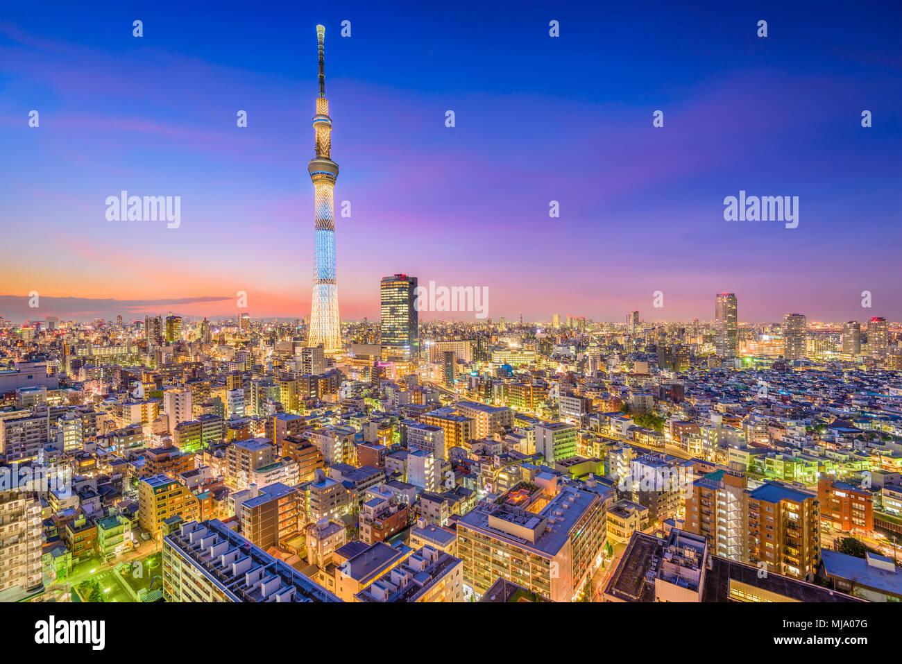 Tokio, Japan Stadtbild und Turm in der Abenddämmerung. Stockbild