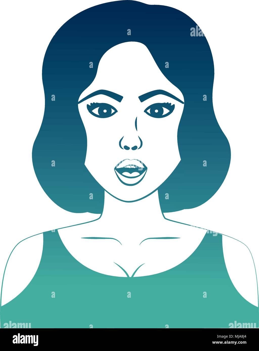Frau Mit Kurzen Haaren Charakter Pop Art Stil Vector Illustration