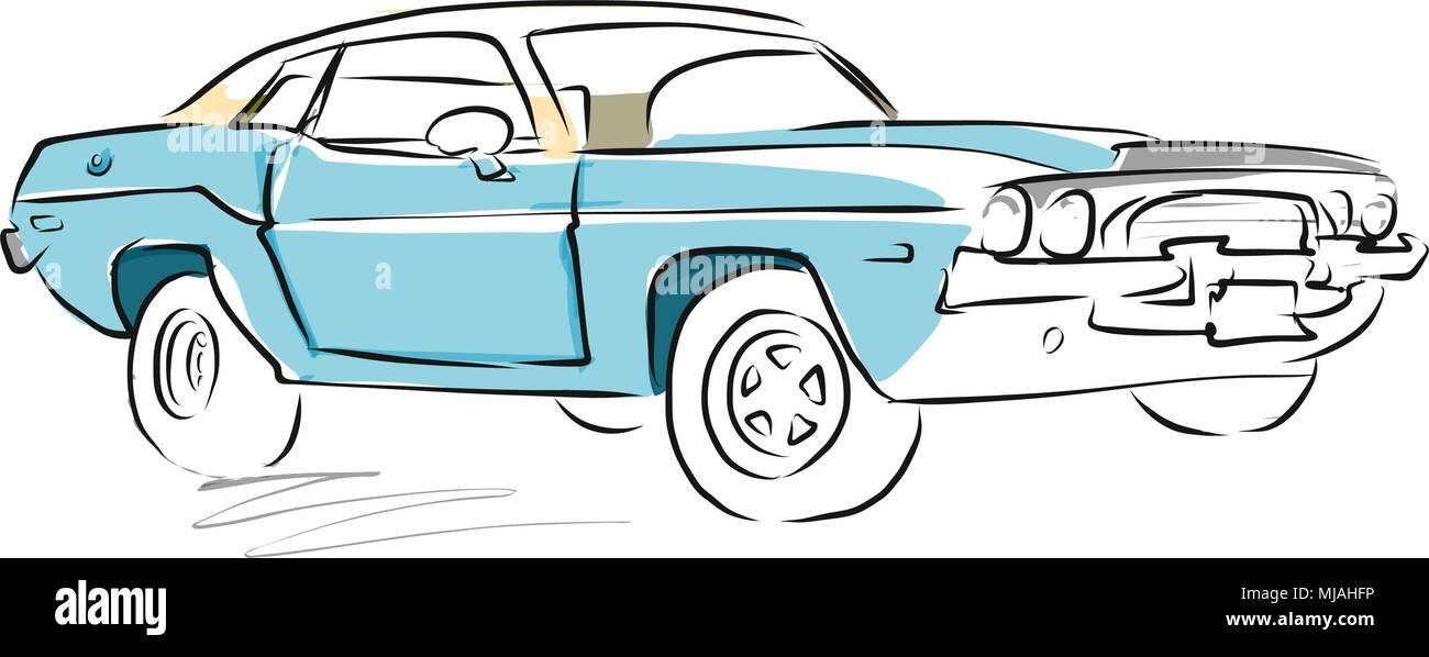 Muscle Car Skizze Zeichnung Getrennt Auf Weiss Vektor Abbildung