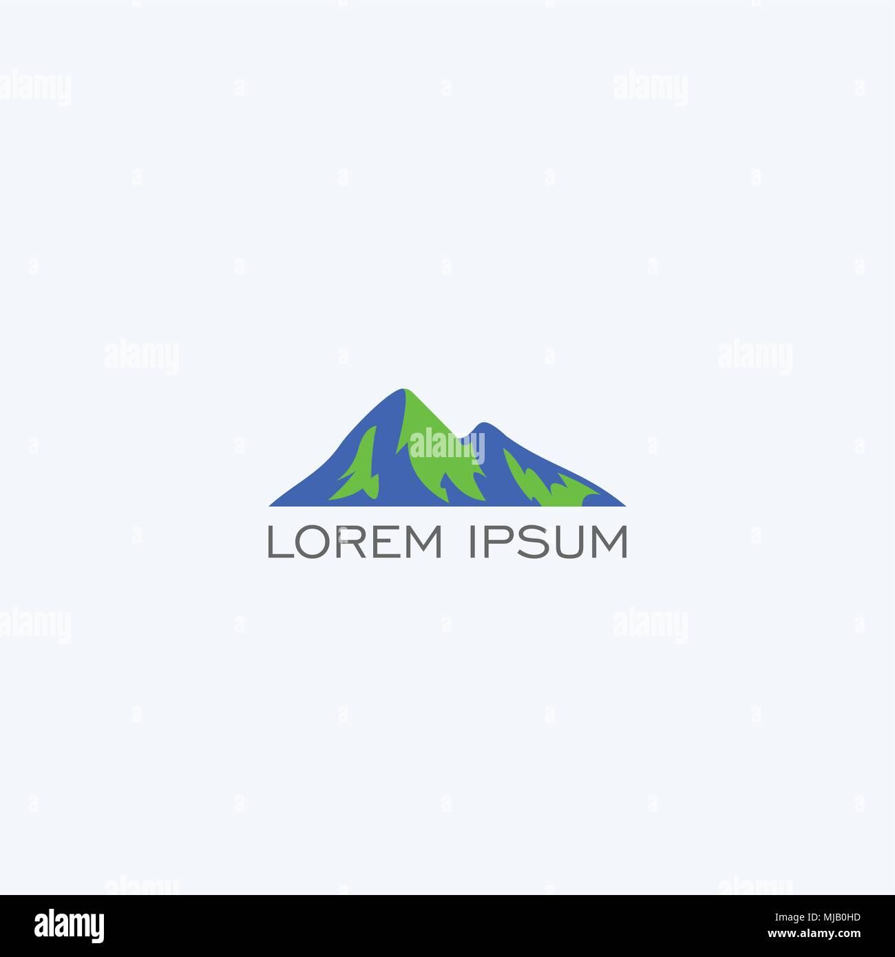 Berg Logo Design, einfache Logo mit blau-grüne Farbe, Vector Icons ...