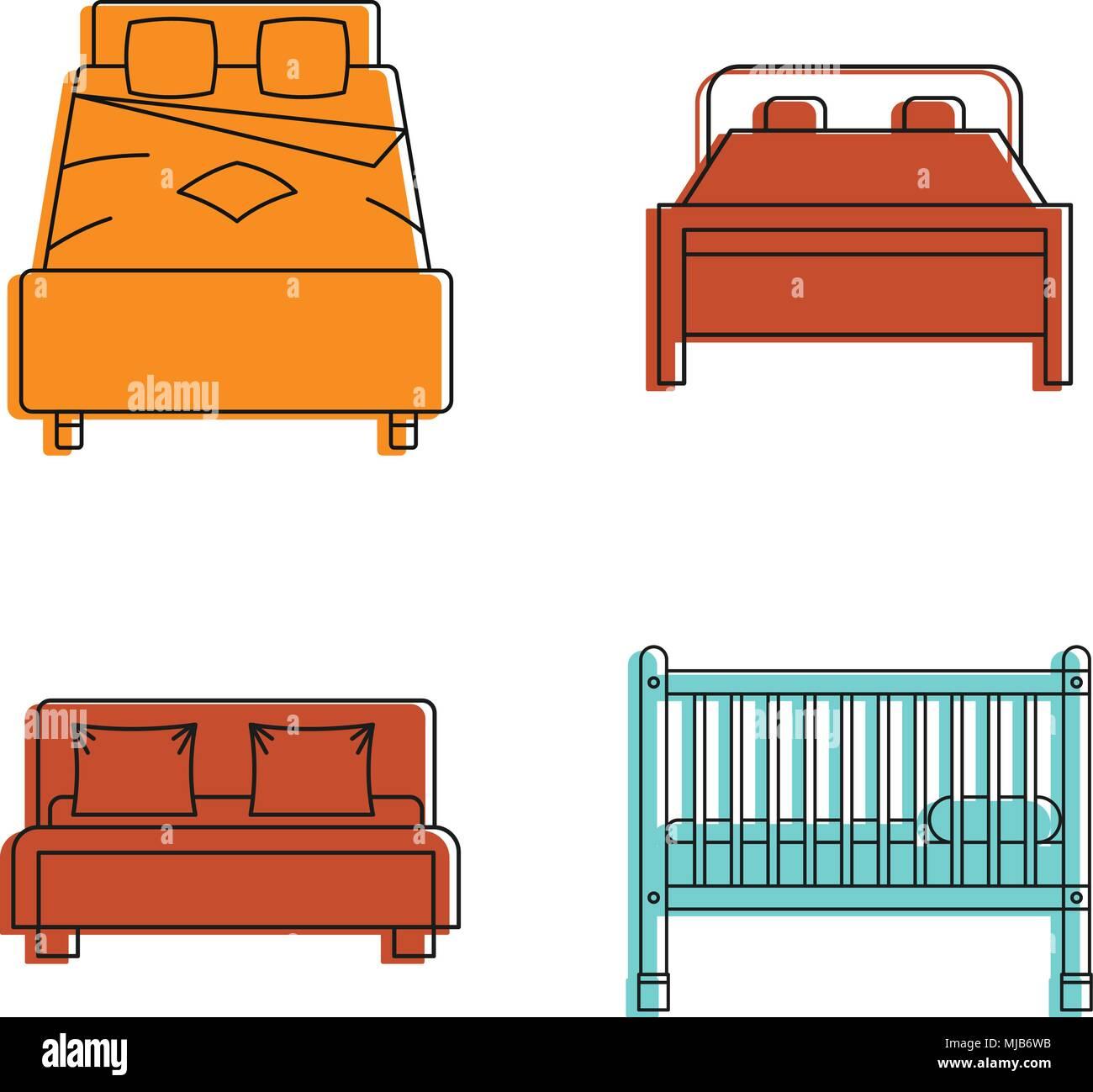 Bett Icon Set Farbe Umrisse Von Bett Vector Icons Fur Web Design