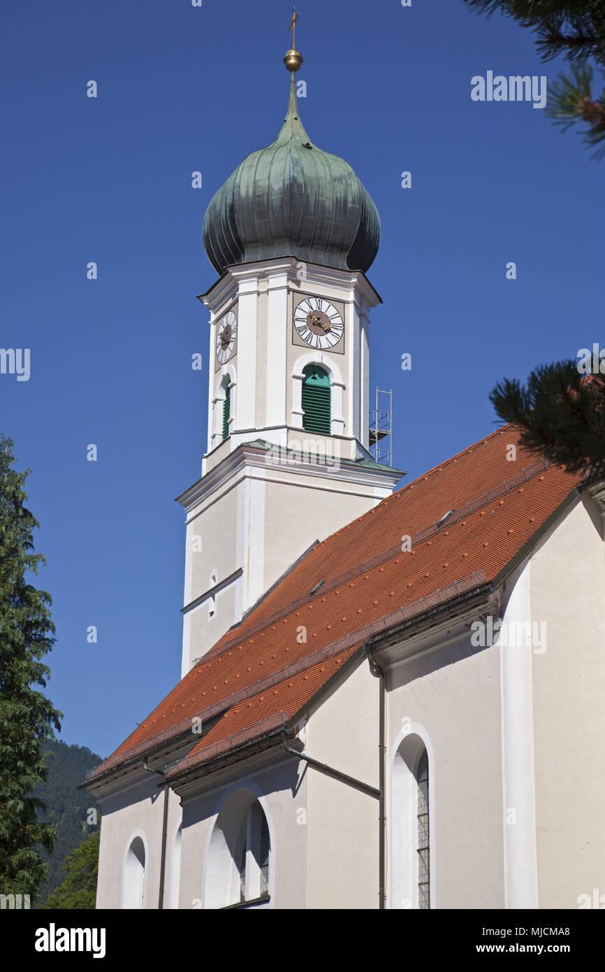 Kirche St. Peter und Paul in Oberammergau, Oberbayern, Bayern, Deutschland, Stockbild