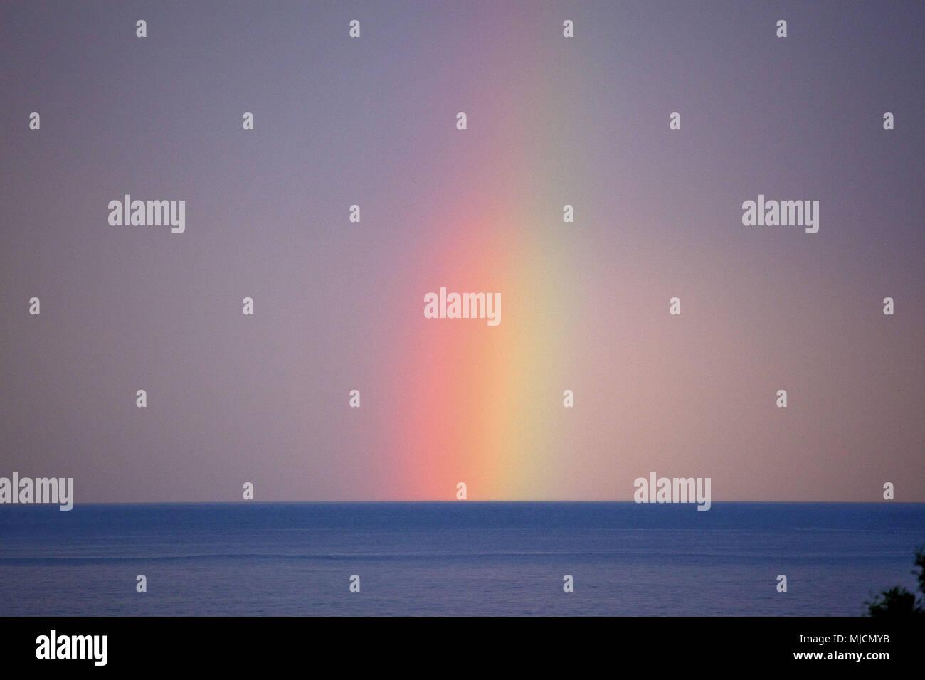 Italien, Sardinien, Ostküste, Castiadas, Sant'Elmo, Costa Rei, Meer, Horizont, Himmel, Regenbogen, Stockbild