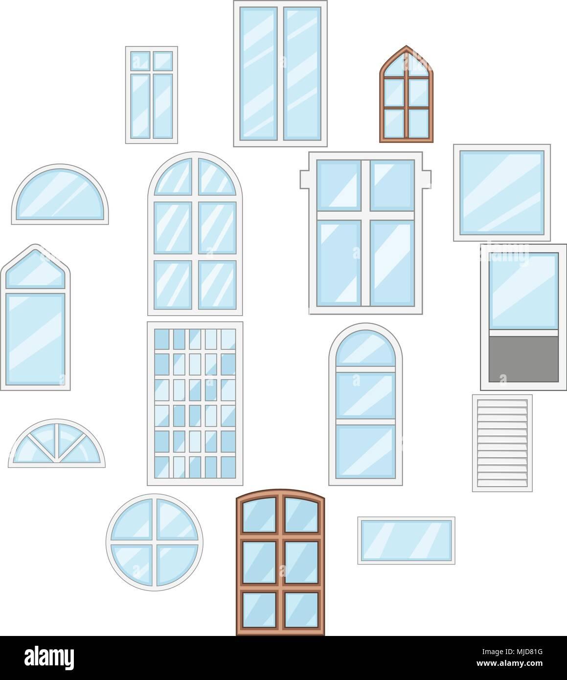Fenster Design Arten Symbole Cartoon Stil Vektor Abbildung Bild