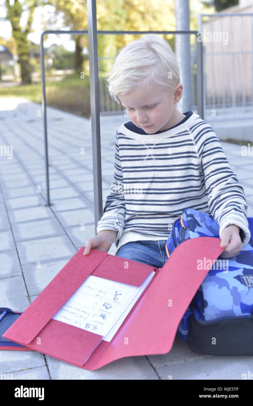 Junge, blonde, Spielplatz, Draußen, Außen, Stockbild