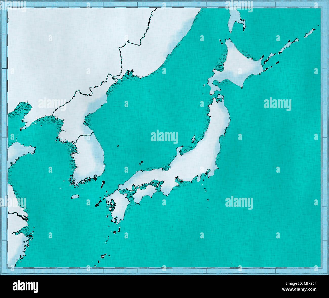 Japan Karte Physisch.Karte Von Japan Nordkorea Und Sudkorea Physische Karte