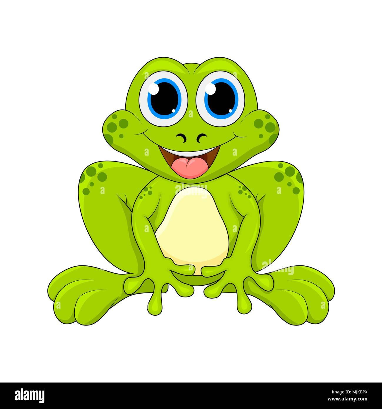 Cartoon Frosch Cute Zeichen Auf Weißem Hintergrund Vektor Abbildung